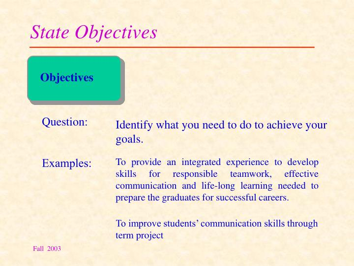 State Objectives