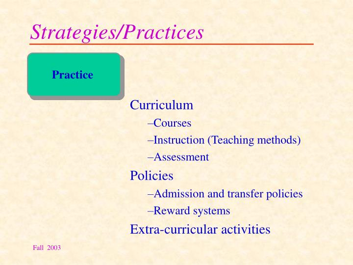 Strategies/Practices