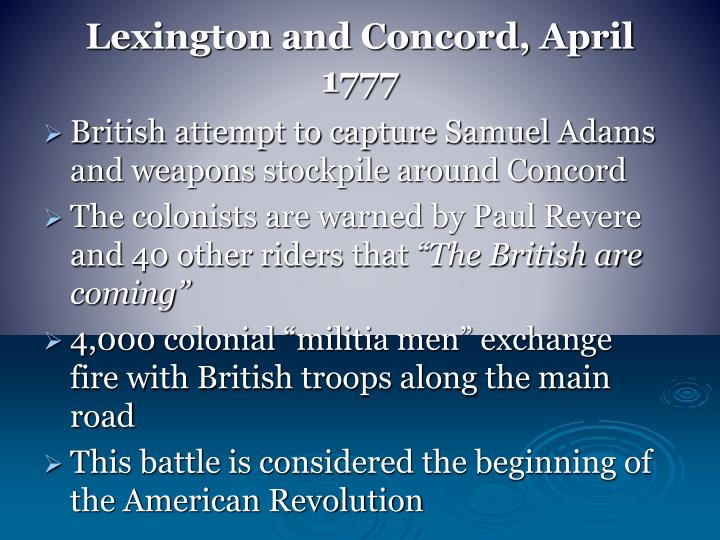 Lexington and Concord, April 1777