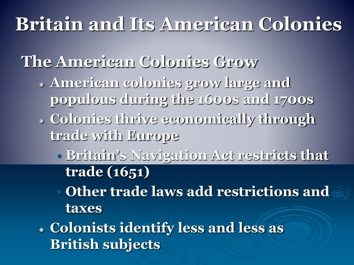 Britain and Its American Colonies