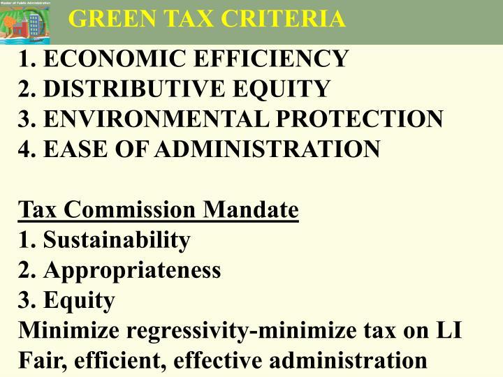 GREEN TAX CRITERIA
