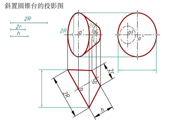 斜置圆锥台的投影图