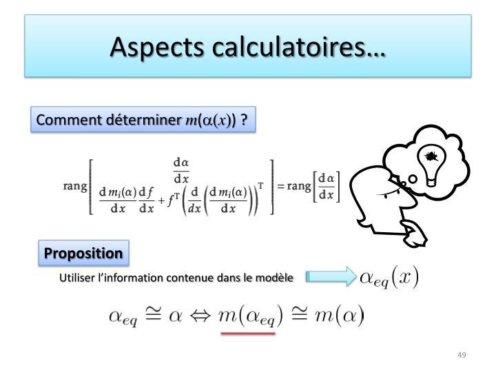 Aspects calculatoires…