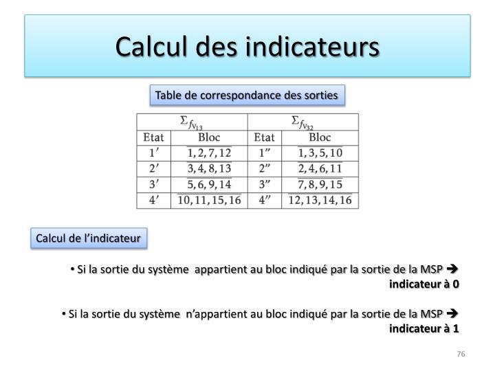 Calcul des indicateurs