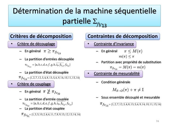 Détermination de la machine séquentielle partielle