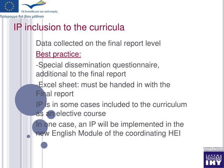 IP inclusion to the curricula