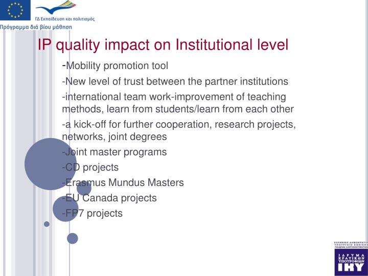 IP quality impact on Institutional level