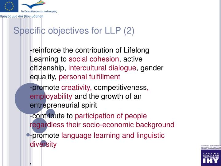 Specific objectives for LLP (2)