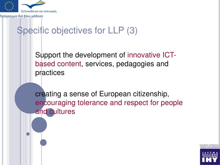 Specific objectives for LLP (3)