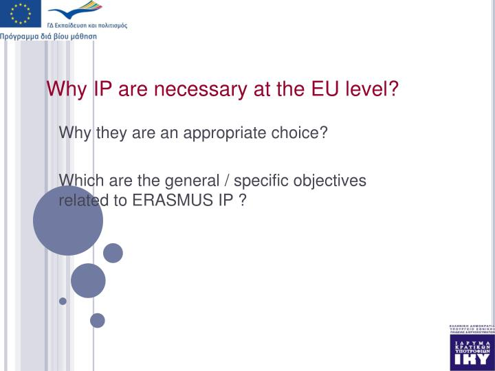 Why ip are necessary at the eu level