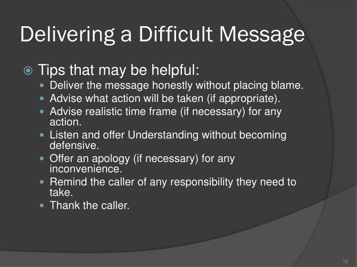 Delivering a Difficult Message