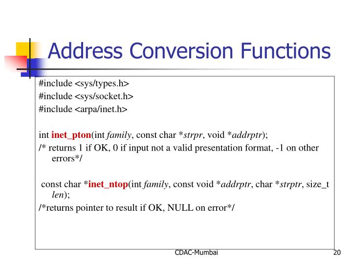 Address Conversion Functions