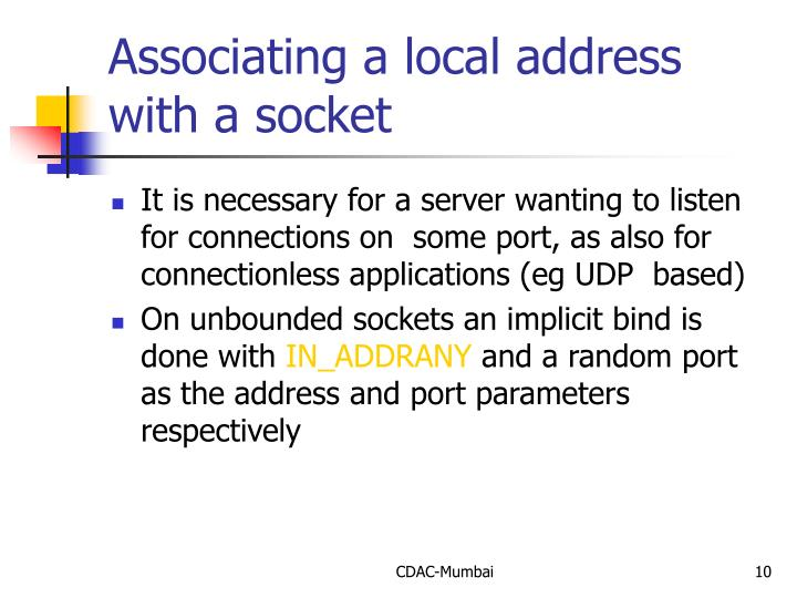 Associating a local address with a socket