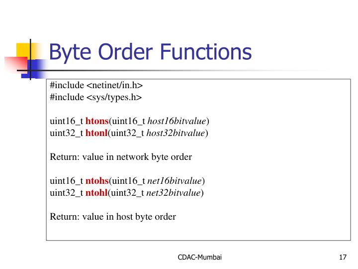 Byte Order Functions