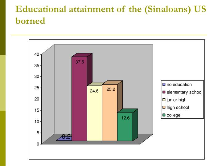 Educational attainment of the (Sinaloans) US borned