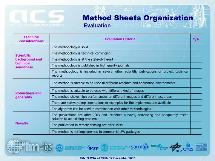 Method Sheets Organization