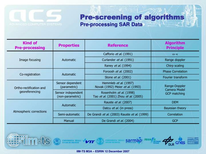 Pre-screening of algorithms