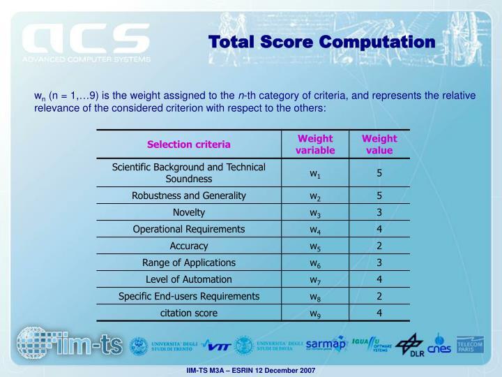Total Score Computation