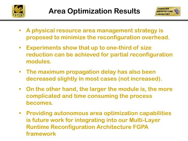 Area Optimization Results