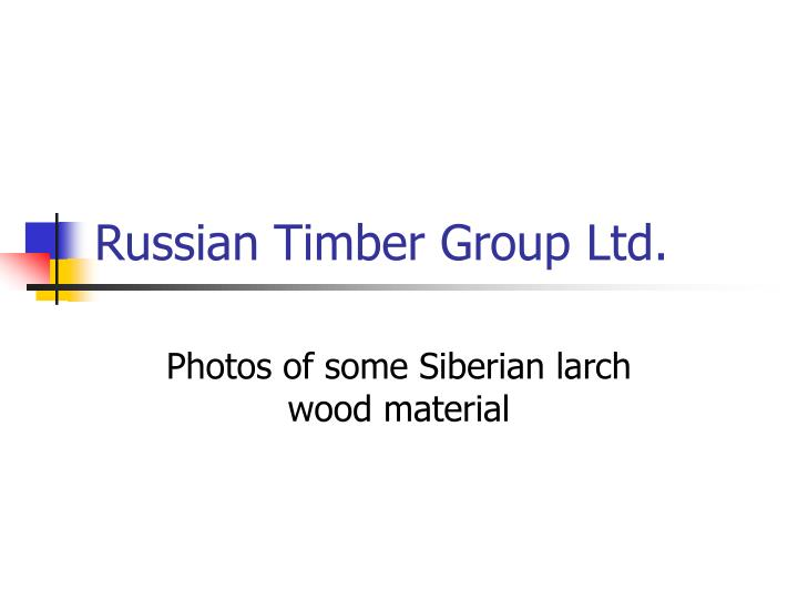 Russian timber group ltd