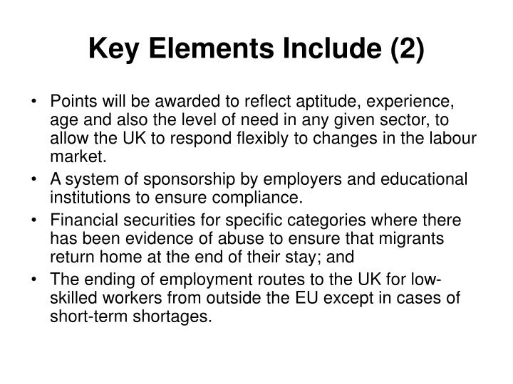 Key Elements Include (2)