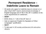 permanent residence indefinite leave to remain