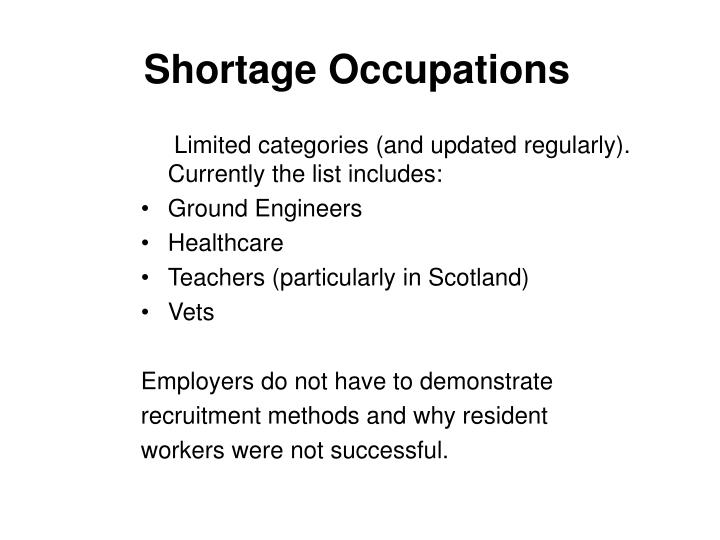 Shortage Occupations