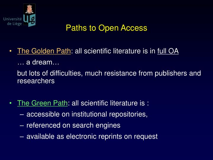 Paths to Open Access