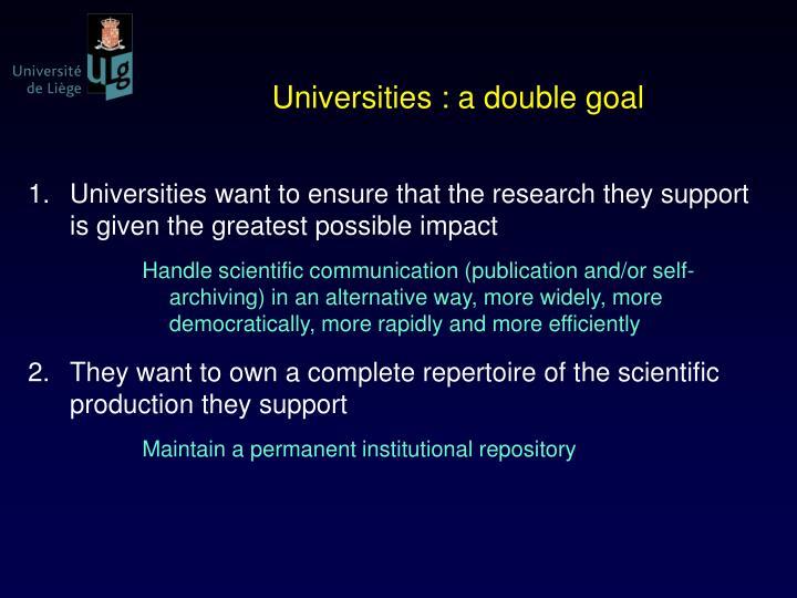 Universities : a double goal