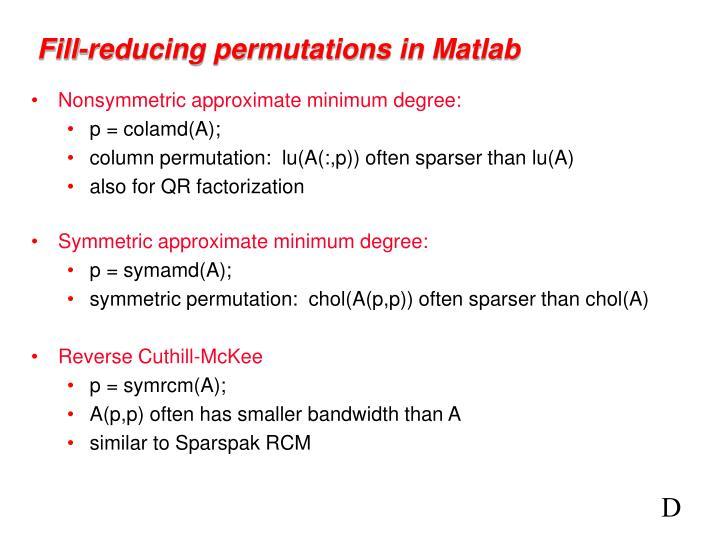 Fill-reducing permutations in Matlab