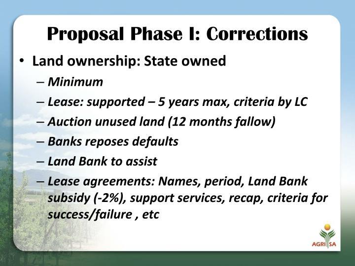 Proposal Phase I: Corrections