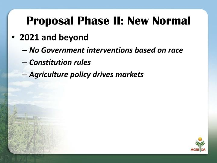Proposal Phase II: New Normal