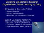 designing collaborative research organizations smart learning by doing