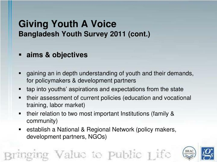 Giving youth a voice bangladesh youth survey 2011 cont