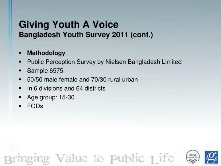 Giving youth a voice bangladesh youth survey 2011 cont1
