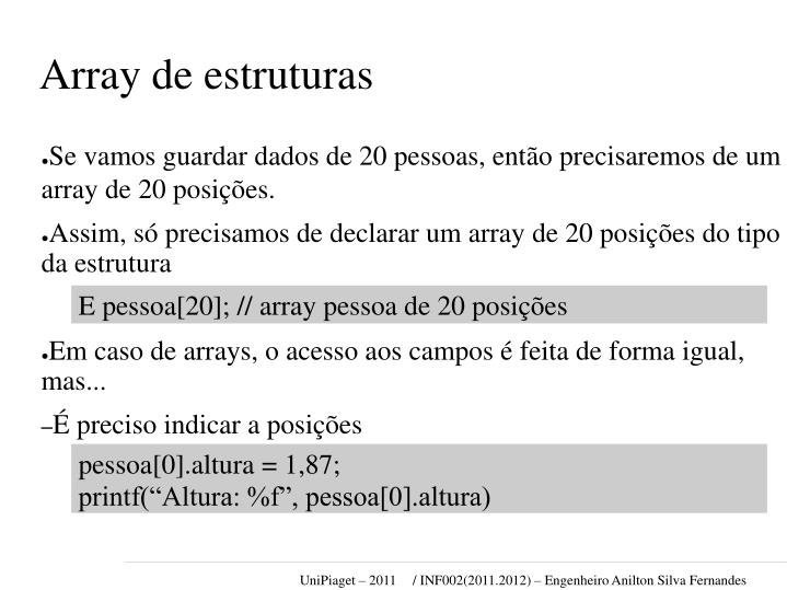 Array de estruturas