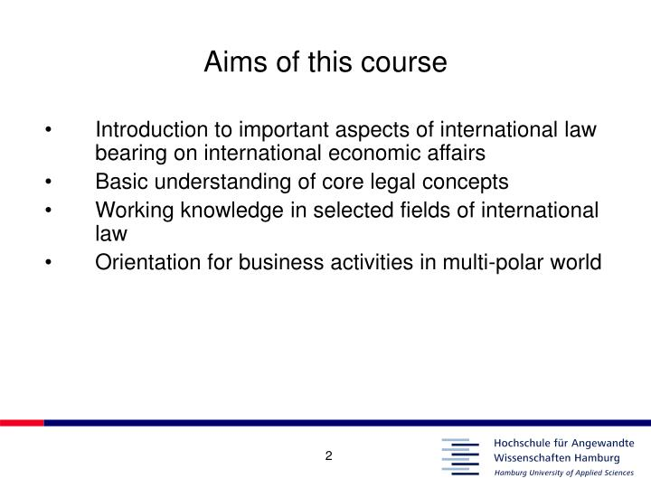 Aims of this course