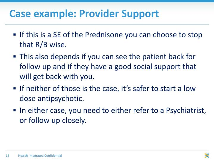 Case example: Provider Support