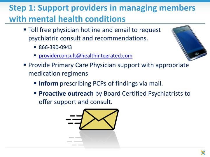 Step 1: Support providers in managing members with mental health conditions