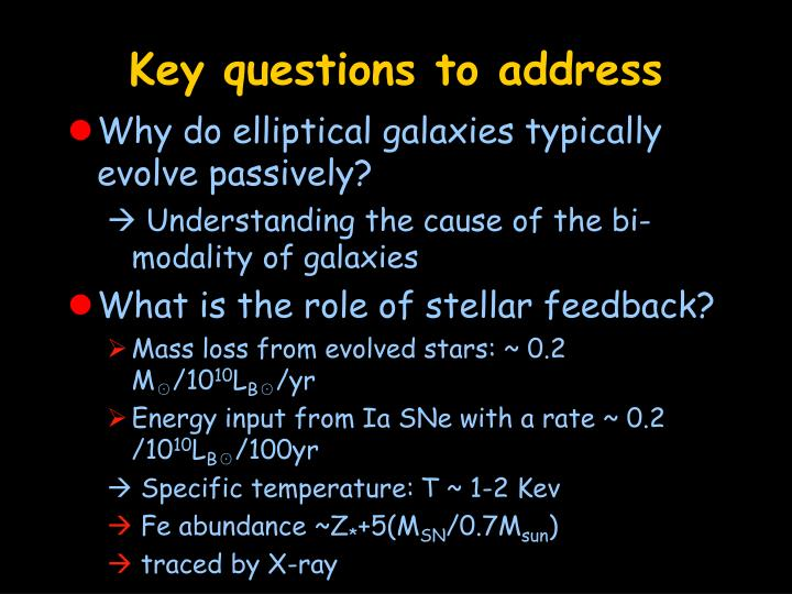 Key questions to address