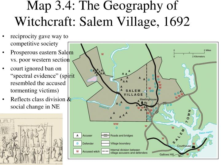 Map 3.4: The Geography of Witchcraft: Salem Village, 1692