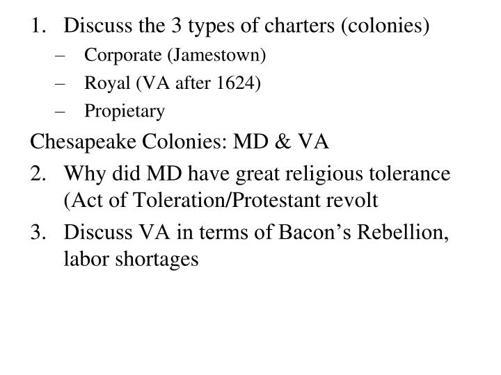 Discuss the 3 types of charters (colonies)