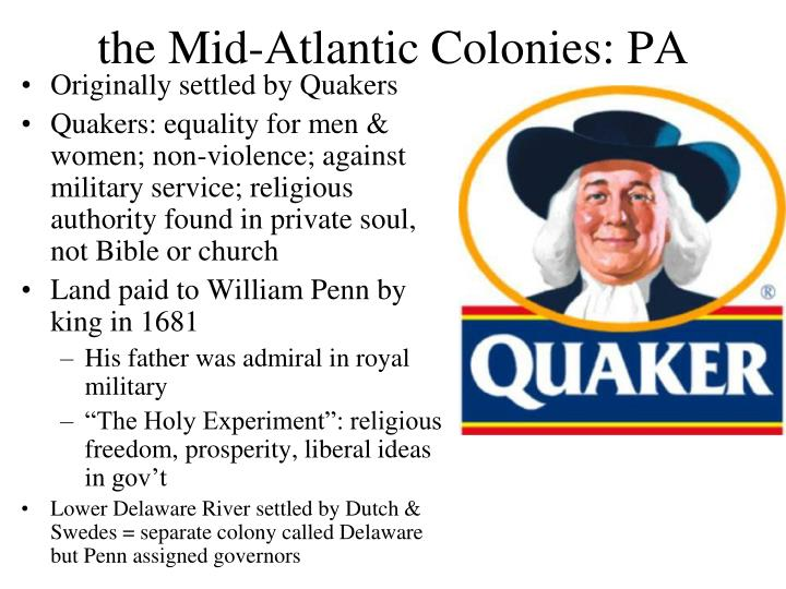 the Mid-Atlantic Colonies: PA