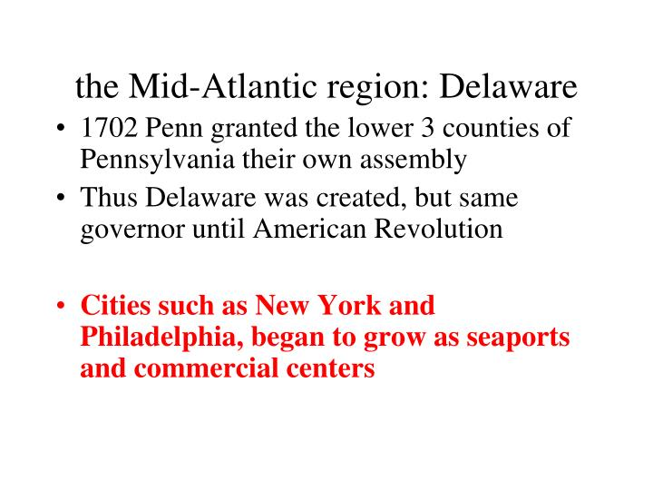 the Mid-Atlantic region: Delaware