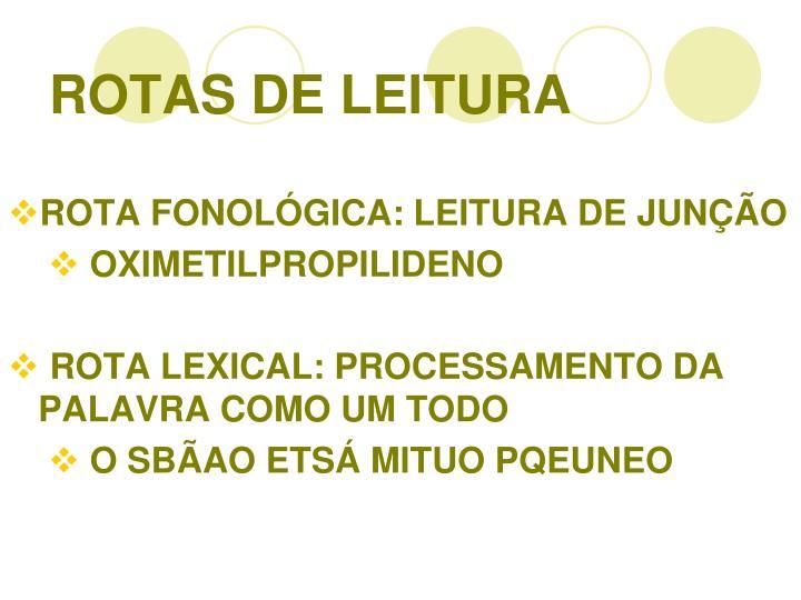 ROTAS DE LEITURA