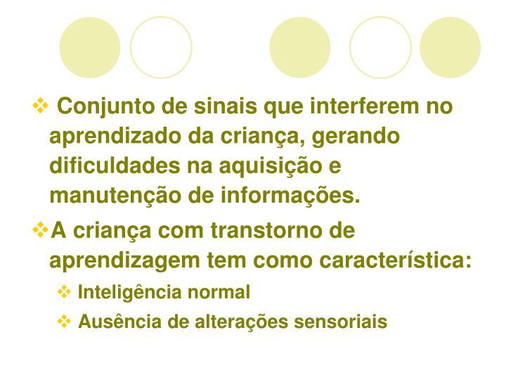 Conjunto de sinais que interferem no aprendizado da criana, gerando dificuldades na aquisio e manuteno de informaes.