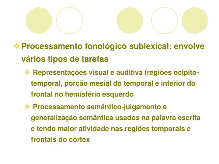Processamento fonolgico sublexical: envolve vrios tipos de tarefas