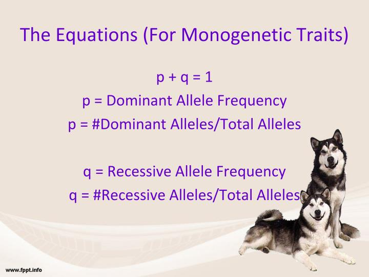 The equations for monogenetic traits