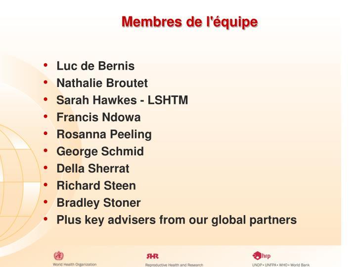 Membres de l'équipe