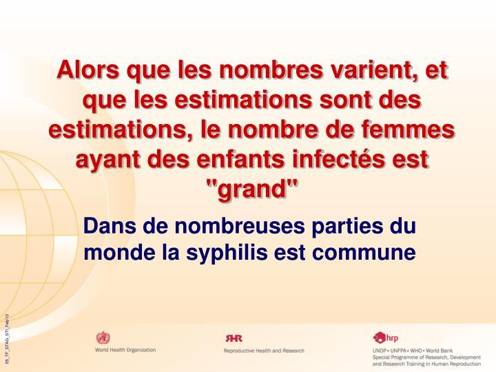 """Alors que les nombres varient, et que les estimations sont des estimations, le nombre de femmes ayant des enfants infectés est """"grand"""""""